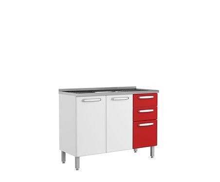 Mueble  Inferior de Cocina Con Lavaplatos 120 Cm Evidence Plus Rojo 7025672PEX