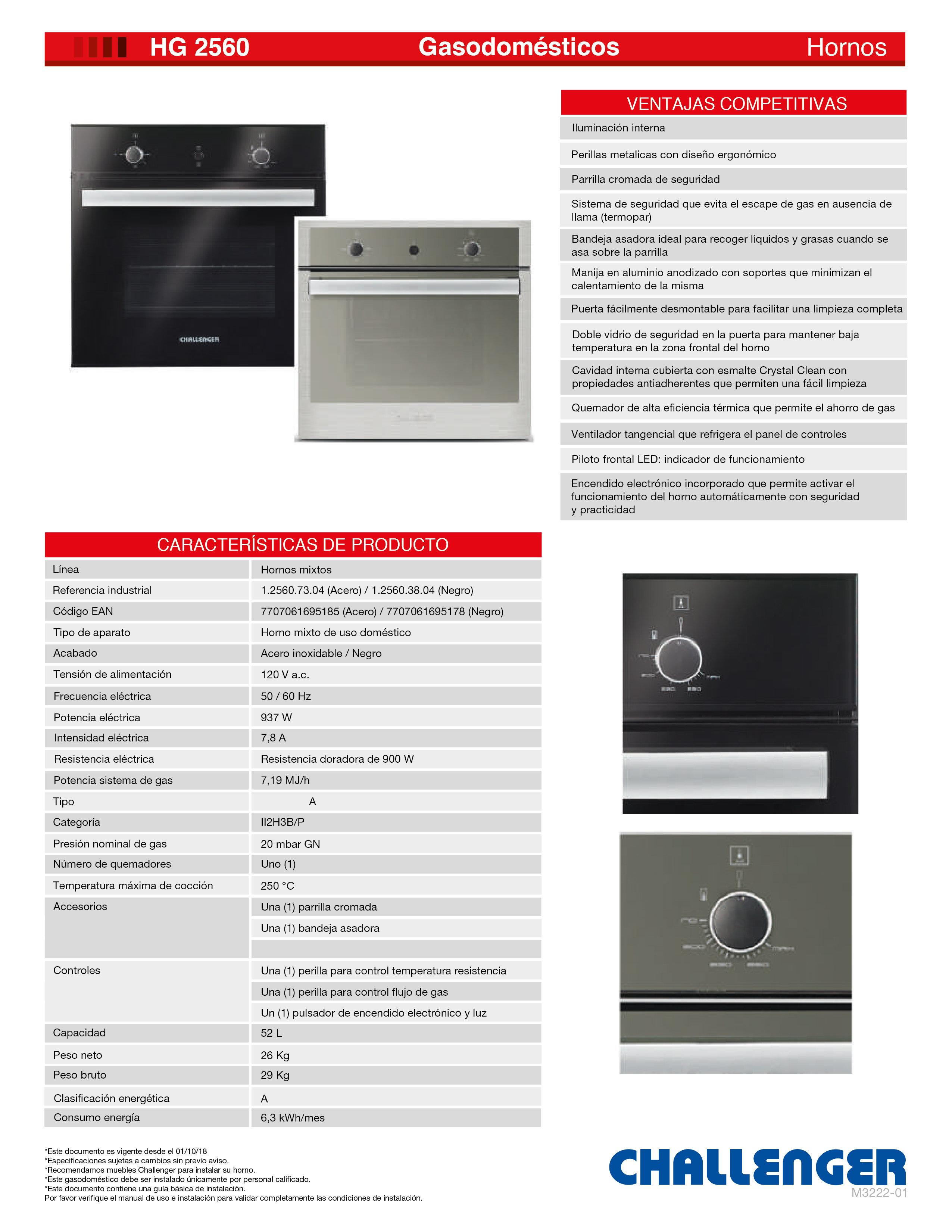 Horno Challenger Mixto A Gas Cristal 1 2560 38 04 Hg