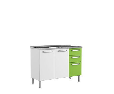 Mueble  Inferior de Cocina Con Lavaplatos 120 Cm Evidence Plus Verde 7025674PEX