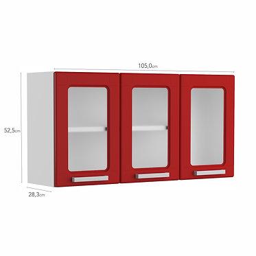 Mueble Superior de Cocina tres Puertas de Vidrio Bertolini - Rojo 6010592