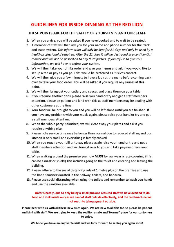 GUIDELINES FOR INSIDE  DINNING AT THE RE