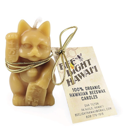 "Candle, Beeswax  Maneki Neko ""Lucky Cat"""