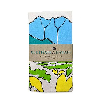 """Tea Towel, Cotton """"Kalo"""" (Cultivate Hawaii)"""