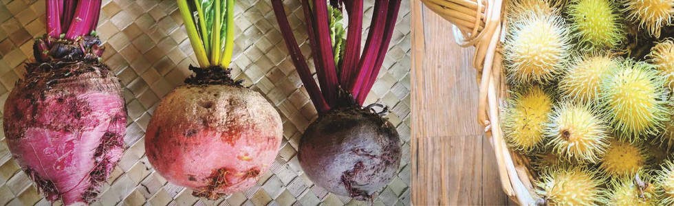 Multicolored beets and yellow rambutan in a basket
