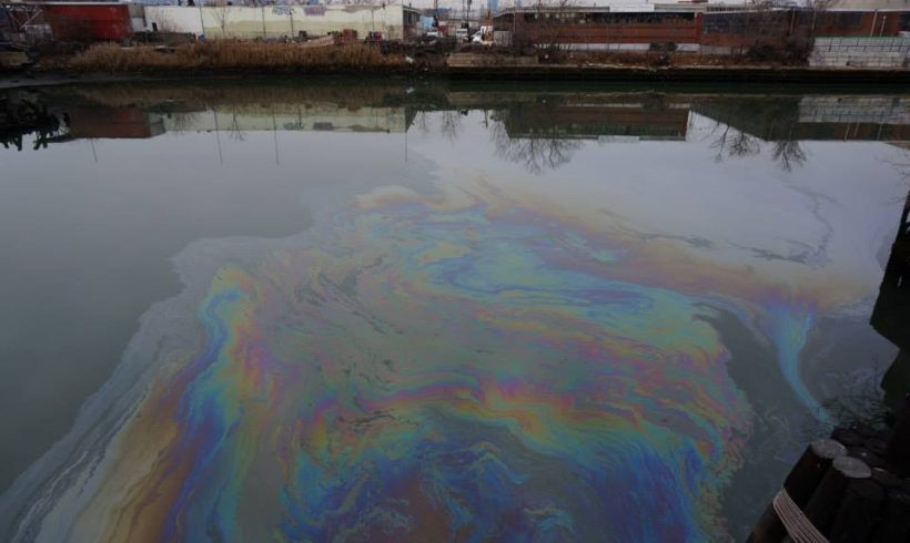 Photo of a rainbow oil sheen from the Newtown Creek Alliance website