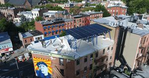 A solar panel in New York City. Photo from BrooklynSolarWorks.com