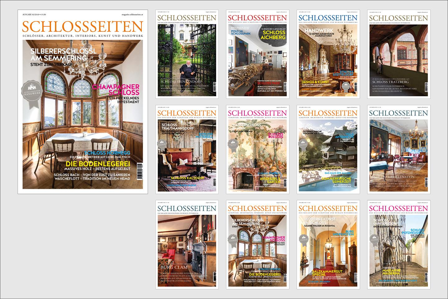 SCHLOSSSEITEN Magazin Fotografie, Grafik, Produktion Das Schlossseiten Magazin erscheint seit 2015 quartalsweise mit einer Auflage von 10.000 Exemplaren.