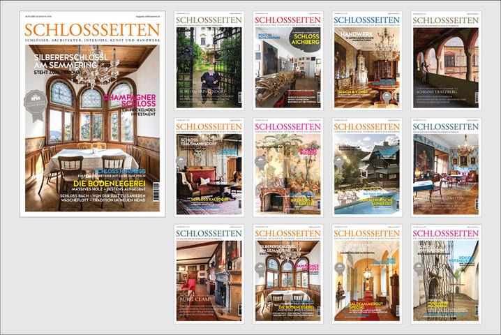 SCHLOSSSEITEN Magazin Fotografie, Grafik, Produktion Das Schlossseiten Magazin erscheint seit 2015 3 x jährlich mit einer Auflage von 10.000 Exemplaren.