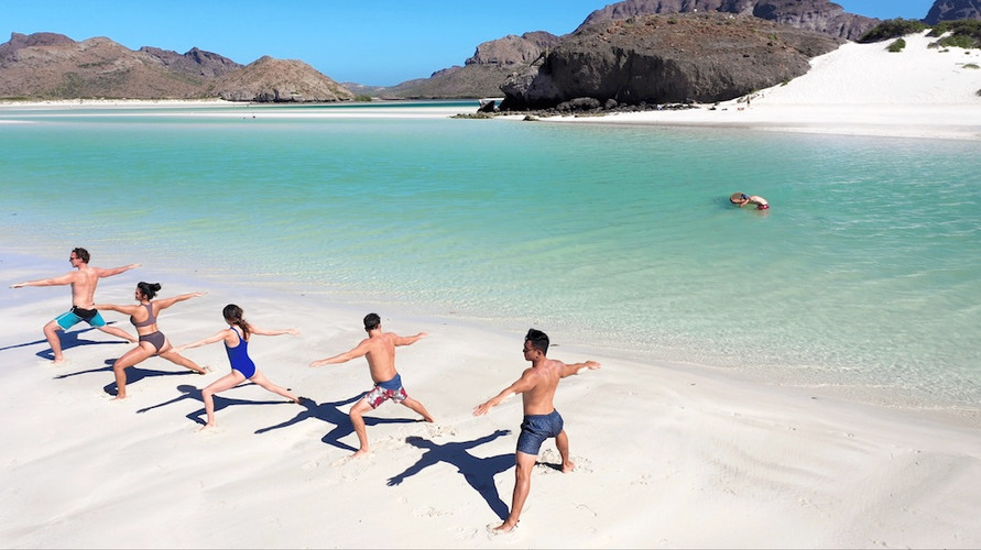 Yoga at Playa Balandra in La Paz