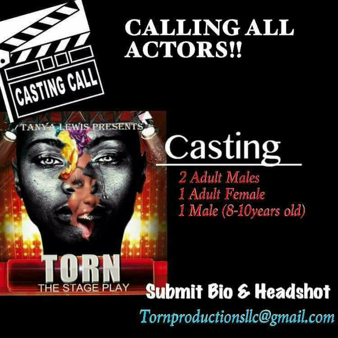 """DMV CASTING CALL FOR """"TORN"""" THE STAGE PLAY"""