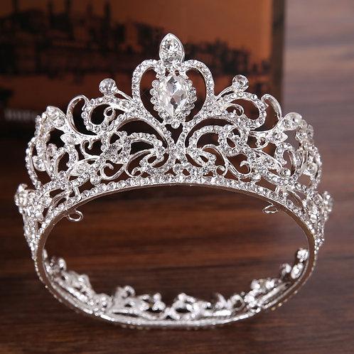 Silver Color Crystal Crown Princess Tiara Wedding Hair Round Small Crown