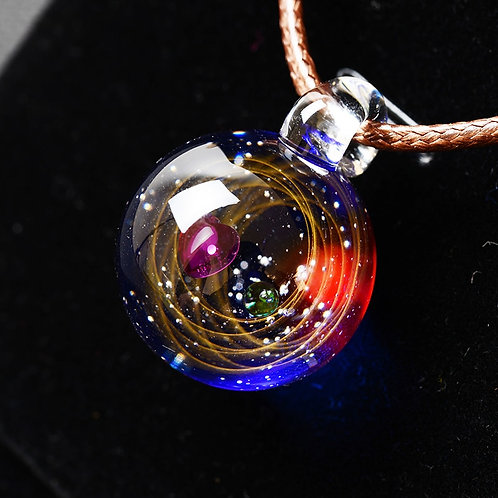 Universe Glass Bead Pendant Planets Necklace Galaxy Rope Chain Solar System