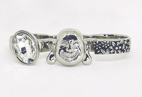 Knuckle Ring * Fits size 7.5 up * Genie CZ Flowers * S21