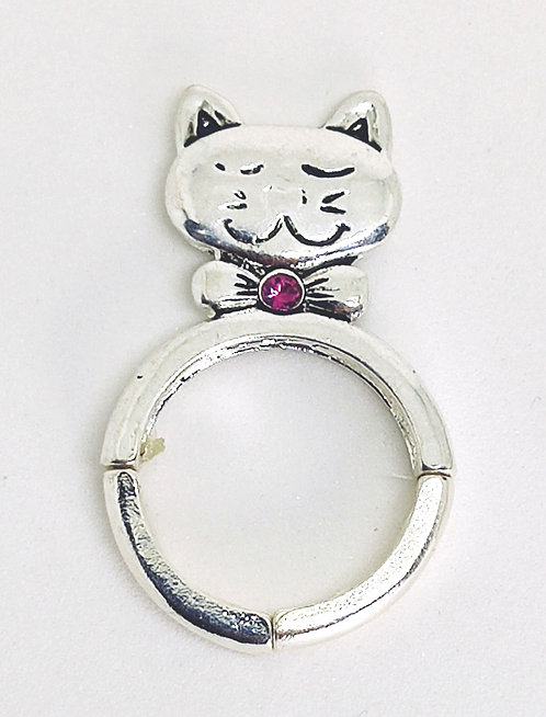 Adjustable Stretch Ring * Fits size 7.5 up * Cat Lover S22a