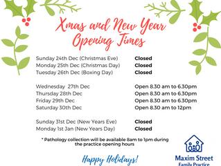 2017/2018 Festive Season Opening Hours