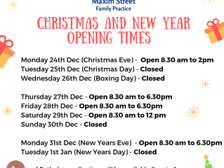 2017/2018 Christmas and New Years Opening Hours