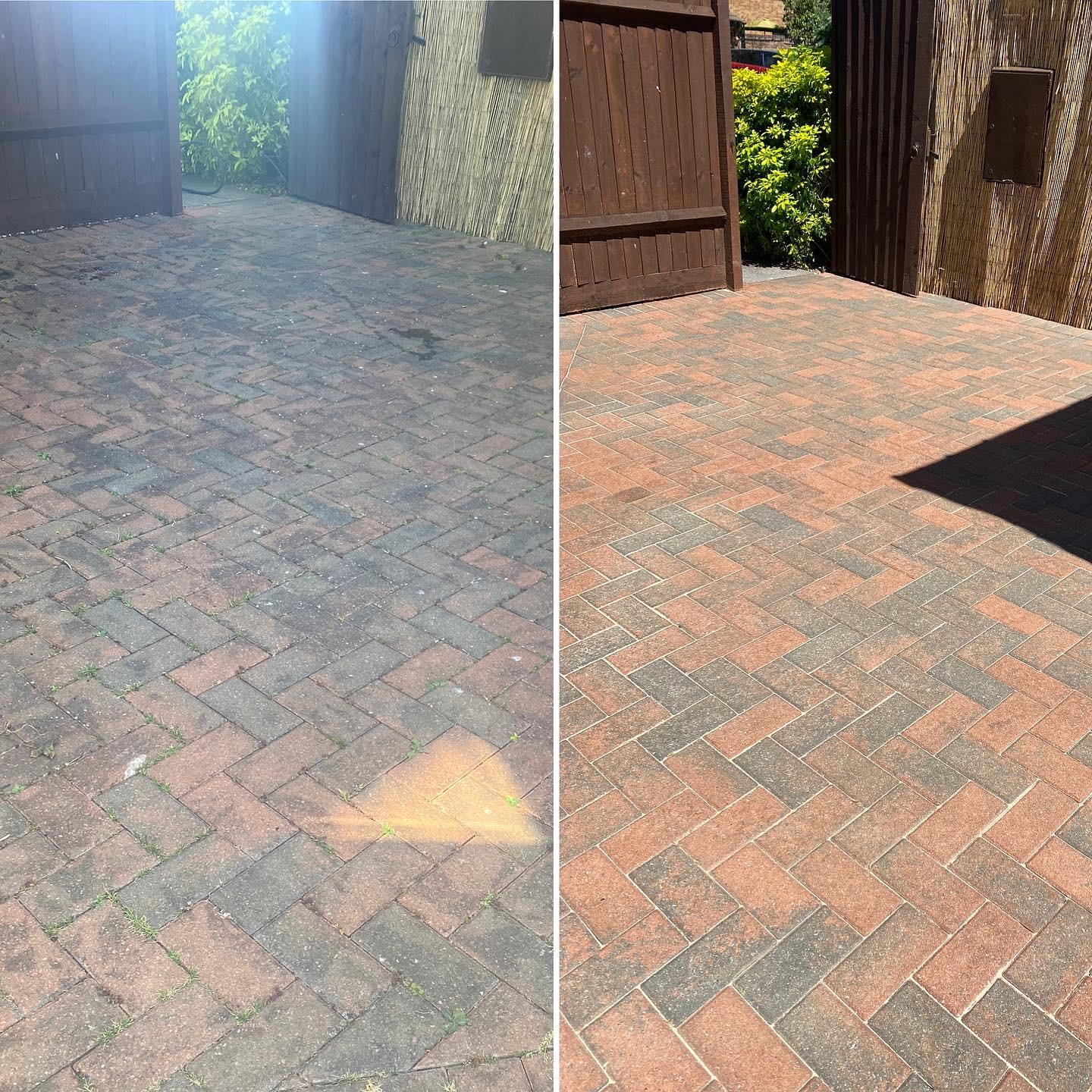 Blocked paved patio
