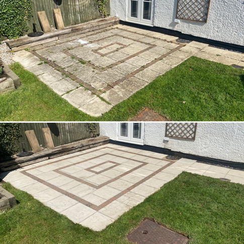 Slabed patio