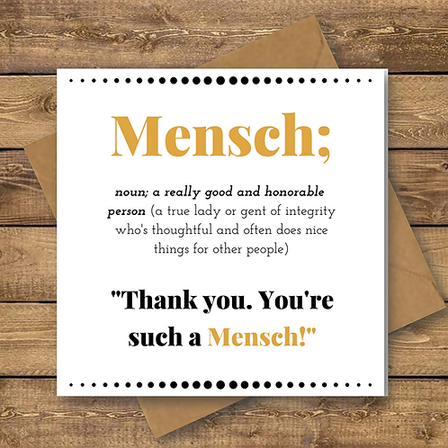 jewish thank you card, mensch thank you card
