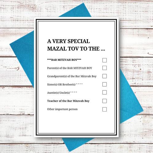 BAR MITZVAH TICK BOX CARD (MZL15)