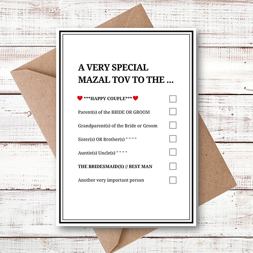 WEDDING TICK BOX CARD (MZL14)