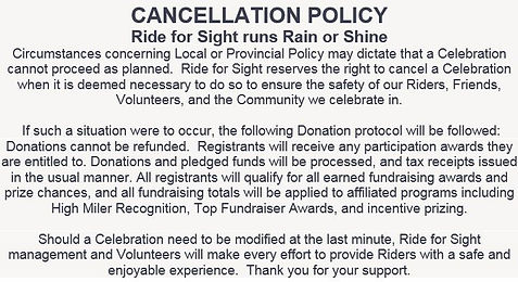 Ride for Sight Cancellation Policy block