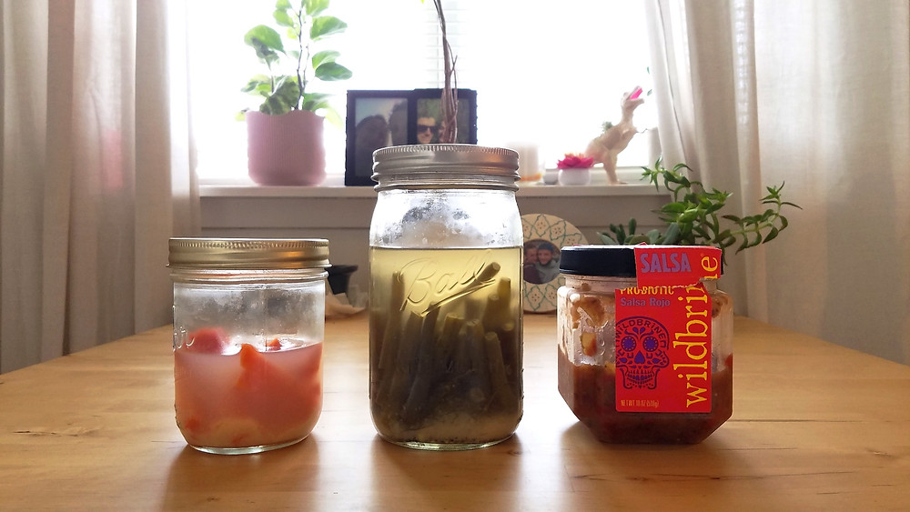3 jars of lacto-fermented foods