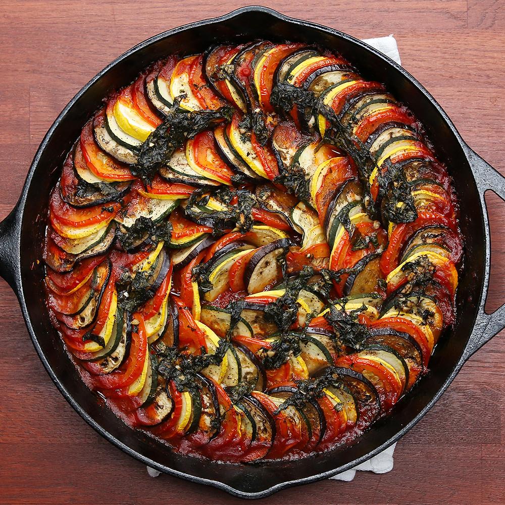 ratatouille in cast iron pan