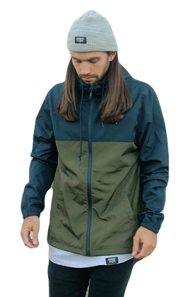 Green/Navy Zip Windbreaker