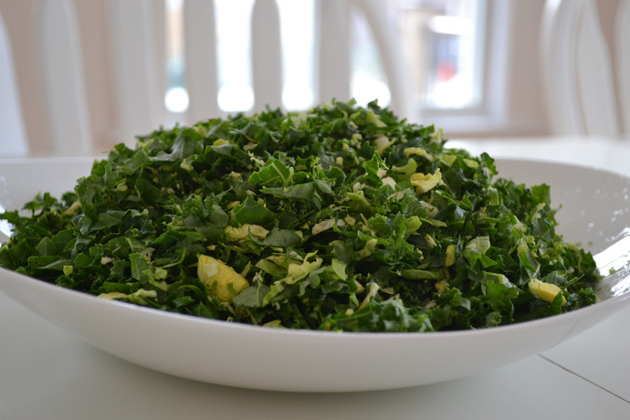 Shaved Kale and Brussels Sprouts Salad