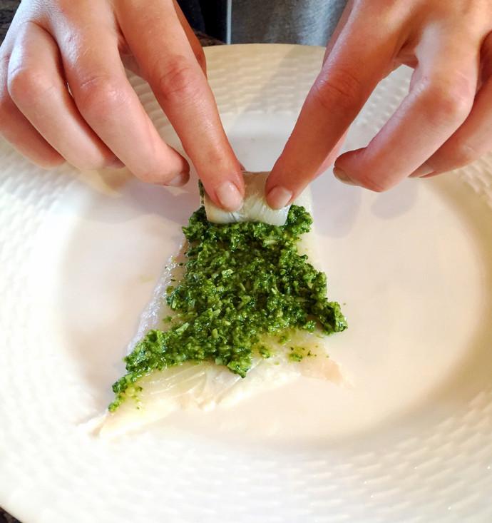 Pesto Flounder Roll-ups
