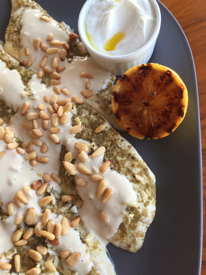 Zaatar Flounder with Tahini and Pine Nuts