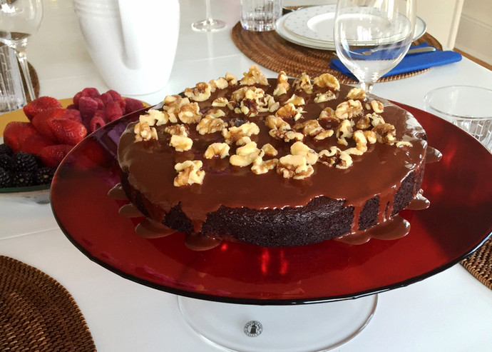 Chocolate Almond Flour Cake with Glaze
