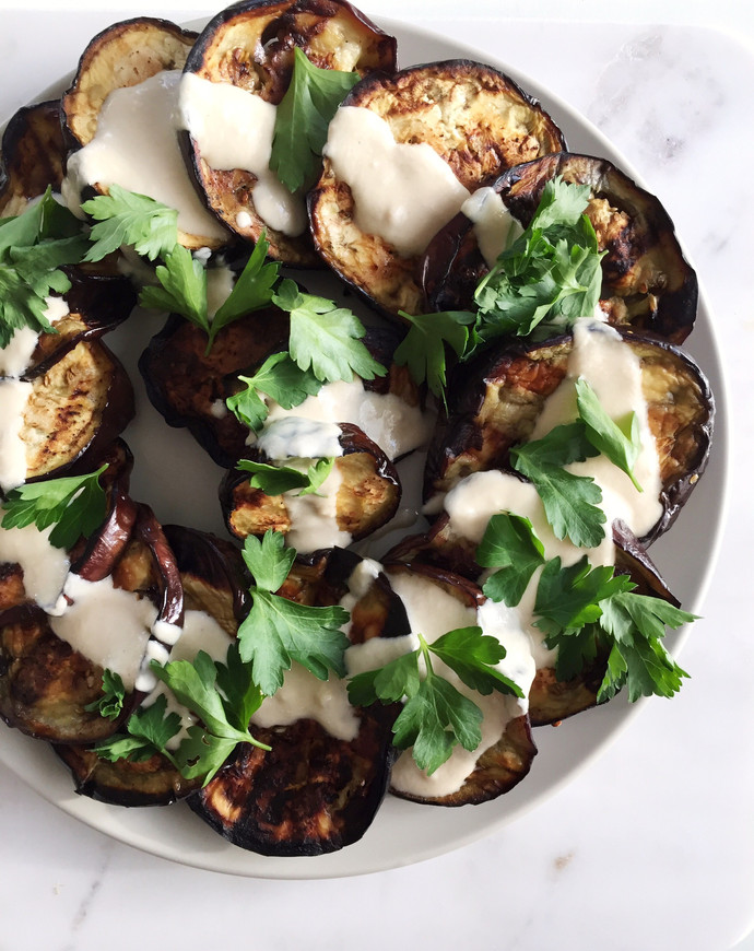 Grilled Eggplant with Fresh Tahini and Parsley