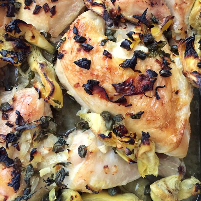 Lemon and Artichoke Roasted Chicken