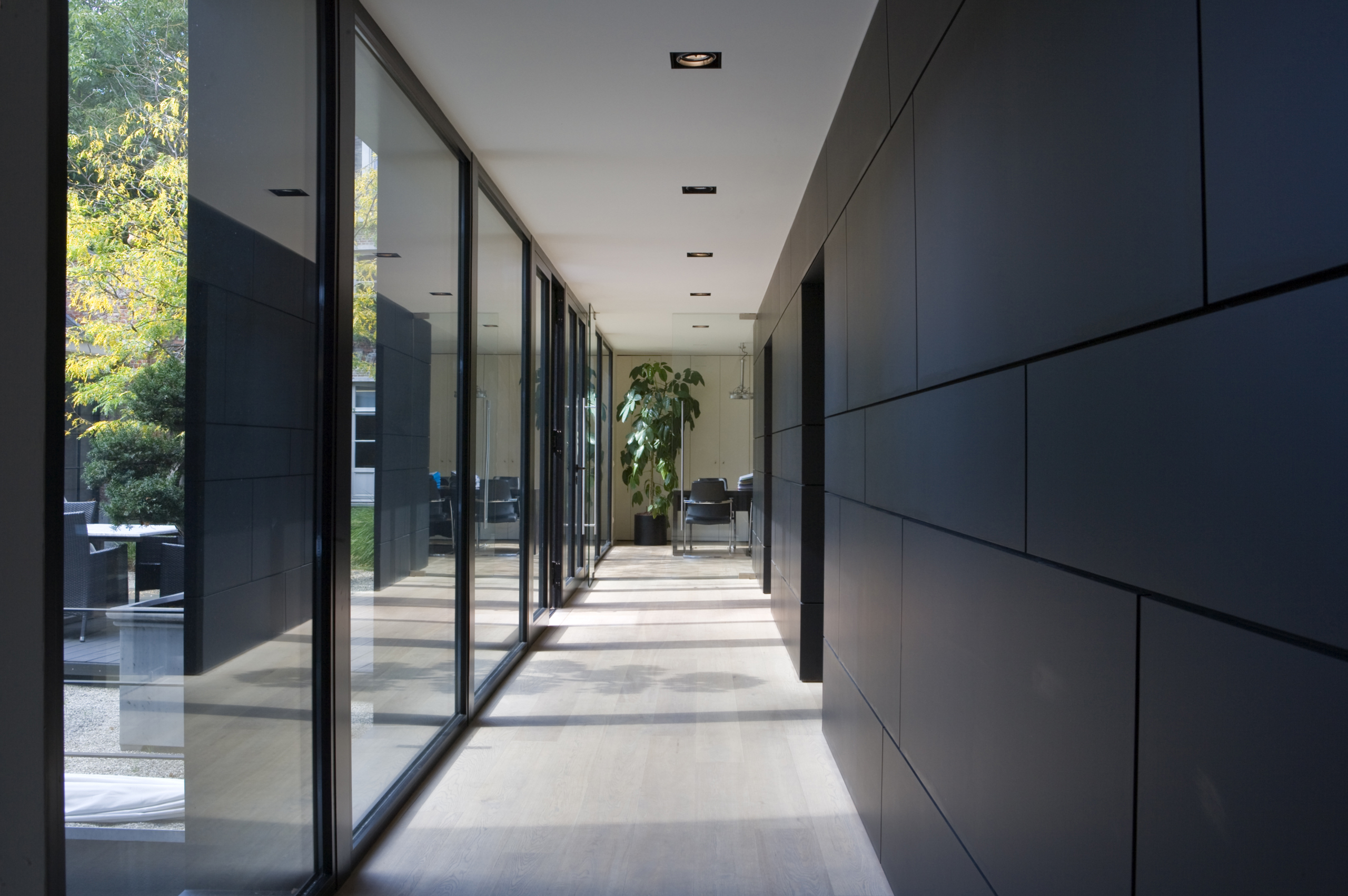 the corridor and offices
