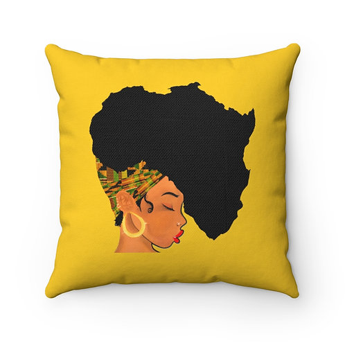 Earth Motherland Polyester Square Pillow (Yellow)