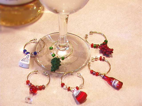 Gourmet Wine and Cheese Wine Glass Charm Set