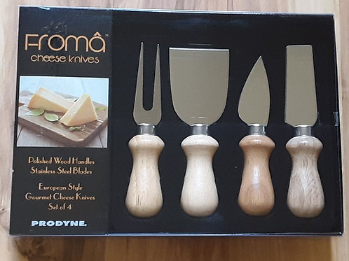 Cheese Knives with Polished Wood Handles, Set of 4