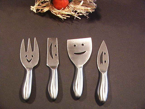 Smile and Say Cheese Happy Faces Cheese Knife and Fork Set