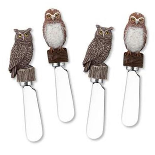 Owls Resin Cheese Spreaders--Set of 4