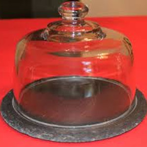 Glass dome with slate serving set