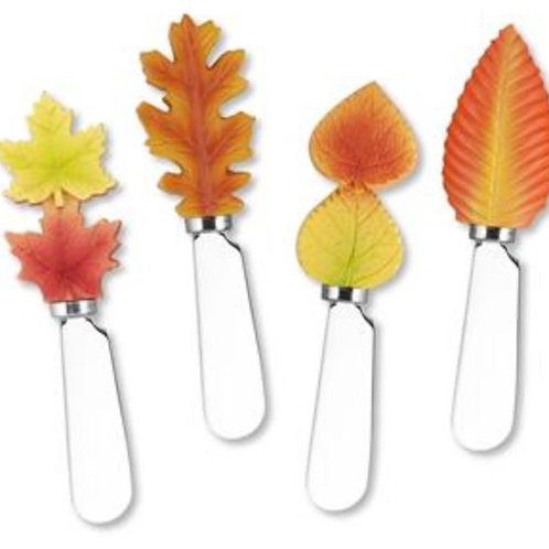 Fall Leaves Resin Cheese Spreaders--Set of 4