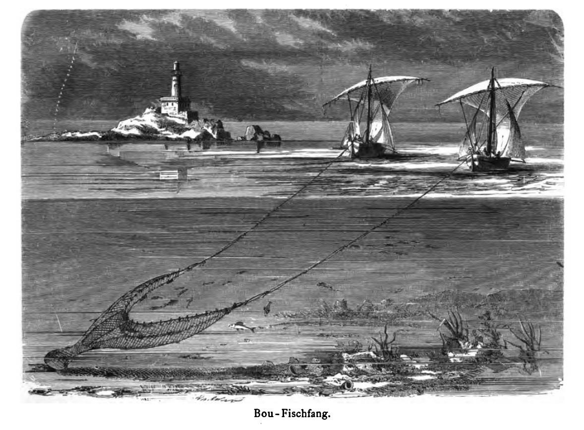 """Parella de """"barques del bou"""" [wing net boats]"""