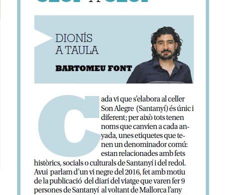 """Vinyes Son Alegre i 9 a """"Dionís a Taula"""".  Gràcies Bartomeu Font!"""