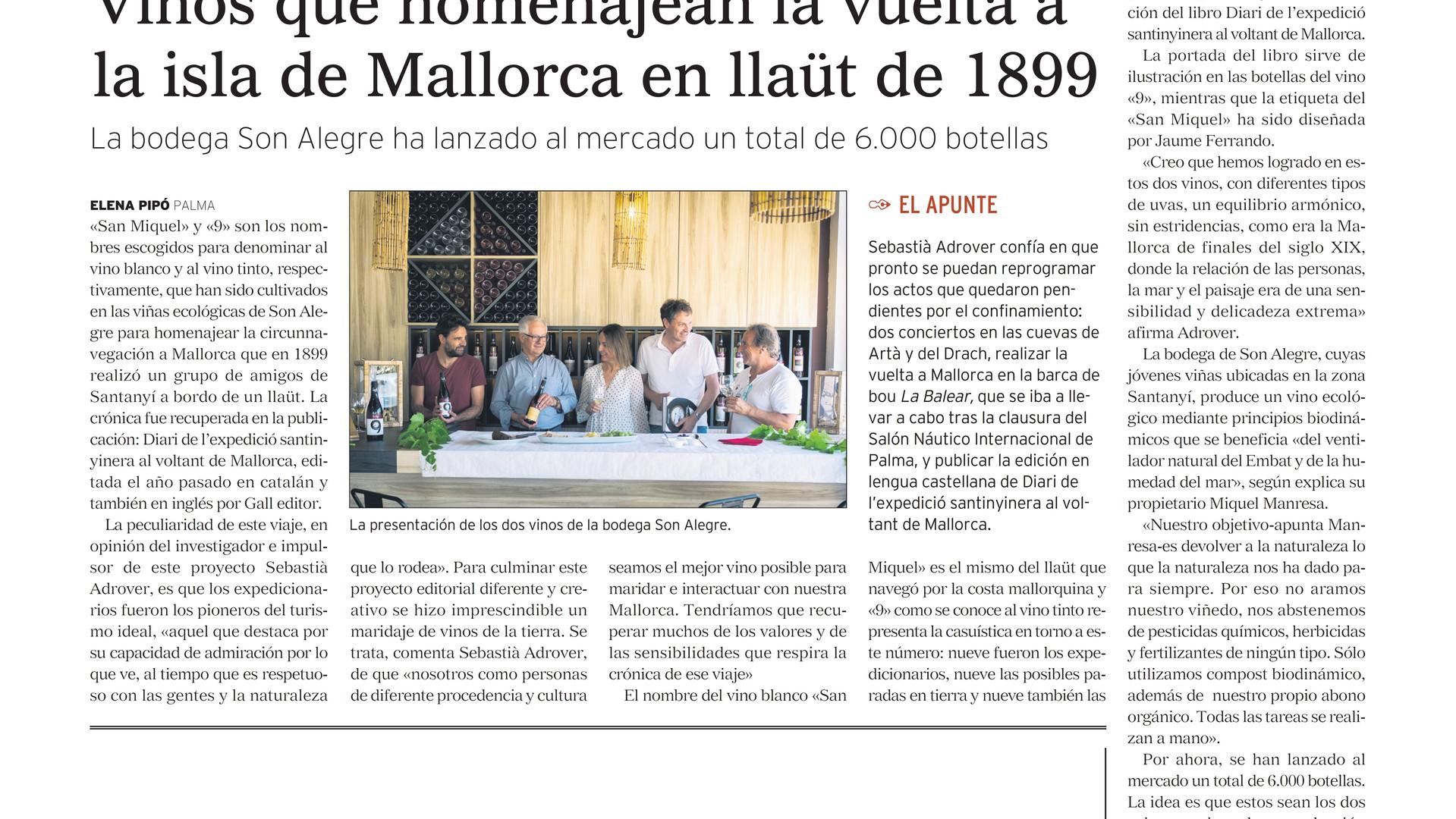 """""""Gaceta Náutica"""" es fa ressò dels vins que homenatgen a 9.  Gràcies Elena Pipó."""