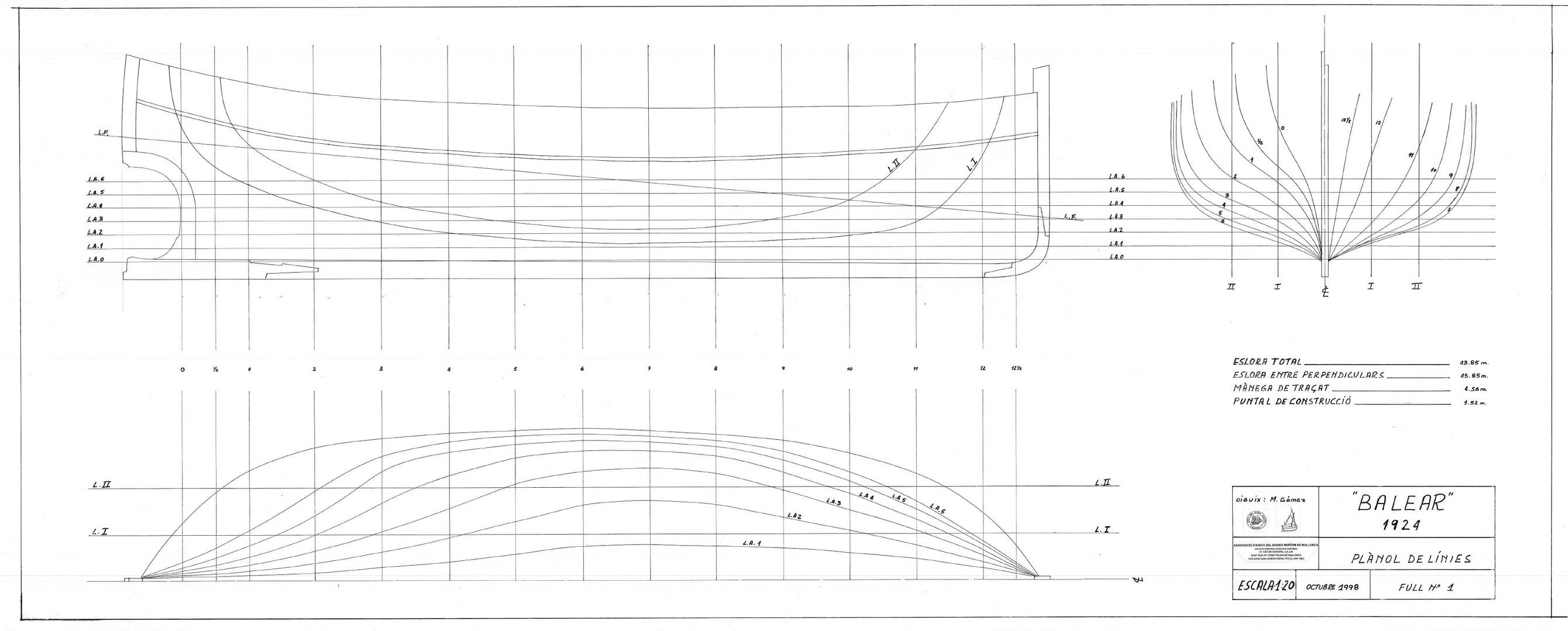 "Plànols de la ""Balear"" dissenyats per Manolo Gómez Planas  Gentilesa de Manuel Gómez Planas"