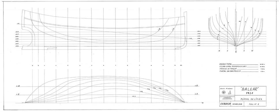 Shape plans for the Balear designed by Manuel Gómez Planas.  Courtesy of Manuel Gómez Planas