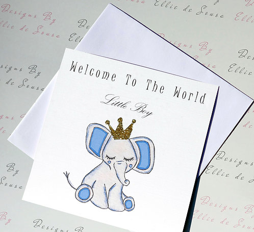 Little Boy Baby Elephant Card