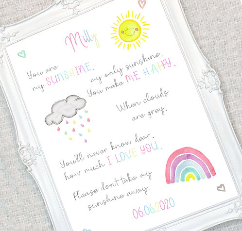 A3 You Are My Sun Shine Personalised Print
